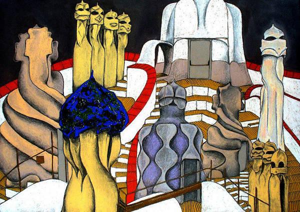 Gaudi Poster featuring the painting Studying Gaudi by Nina Mirhabibi