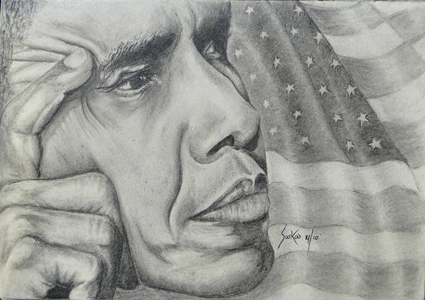 Barack Obama Poster featuring the drawing Barack Obama by Stephen Sookoo