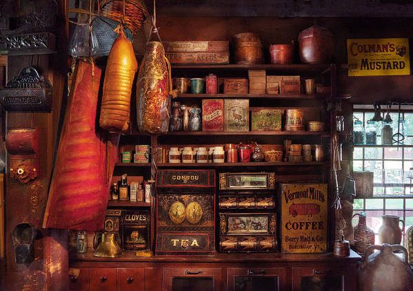 Store Poster featuring the photograph Americana - Store - The Local Grocers by Mike Savad