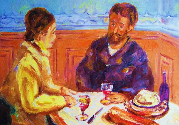 Cafes Poster featuring the painting Cafe Renoir by Carole Spandau