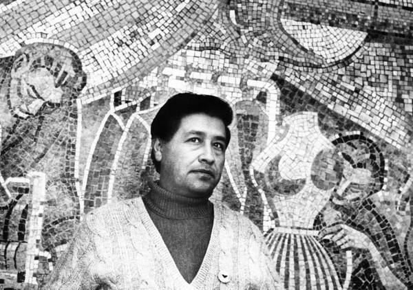 1970s Portraits Poster featuring the photograph Cesar Chavez Stands In Front Of The by Everett