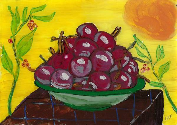 Cherry Bowl Poster featuring the painting Cherry Bowl by Enrico Pischiera