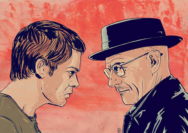 Dexter Morgan Poster featuring the drawing Dexter And Walter by Giuseppe Cristiano