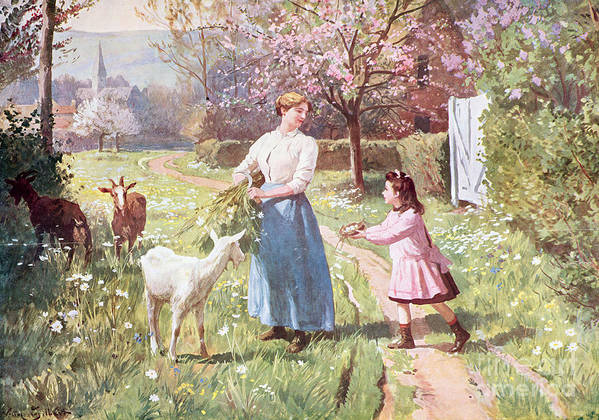 Easter Poster featuring the painting Easter Eggs In The Country by Victor Gabriel Gilbert