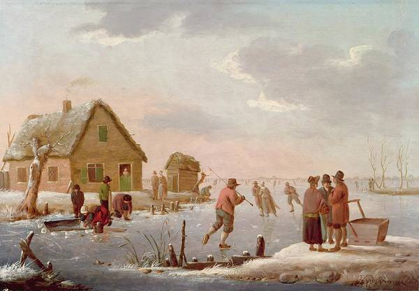 Figures Poster featuring the painting Figures Skating In A Winter Landscape by Hendrik Willem Schweickardt