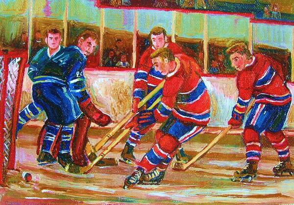 Hockey Poster featuring the painting He Shoots  He Scores by Carole Spandau
