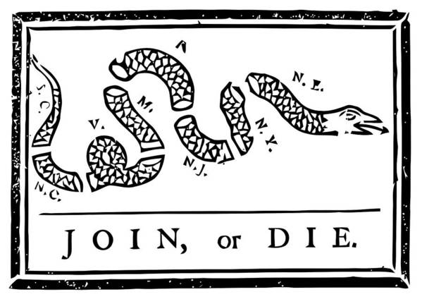 Join Or Die Poster featuring the mixed media Join Or Die by War Is Hell Store