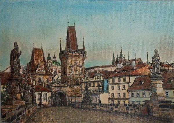 Praha Poster featuring the drawing Na Karlovem Moste by Gordana Dokic Segedin