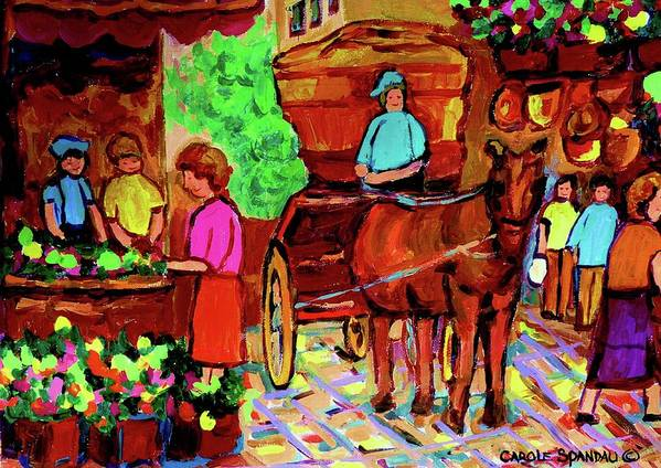 Montreal Poster featuring the painting Paintings Of Montreal Streets Old Montreal With Flower Cart And Caleche By Artist Carole Spandau by Carole Spandau