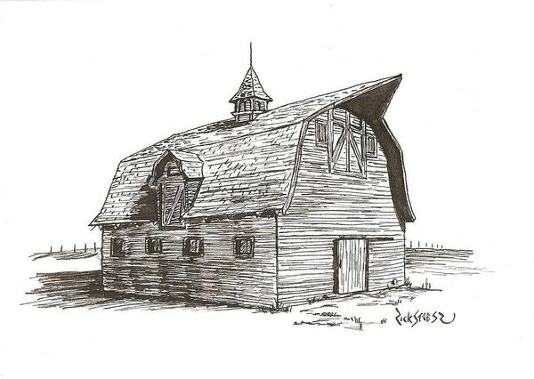 Barn Poster featuring the drawing Prairie Barn by Rick Stoesz