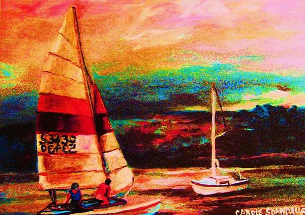 Sailing Poster featuring the painting Red Sails In The Sunset by Carole Spandau