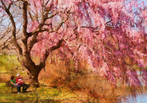 Suburbanscenes Poster featuring the photograph Spring - Sakura - A Beautiful Spring Day by Mike Savad