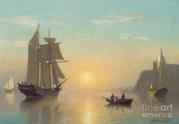 Boat Poster featuring the painting Sunset Calm In The Bay Of Fundy by William Bradford