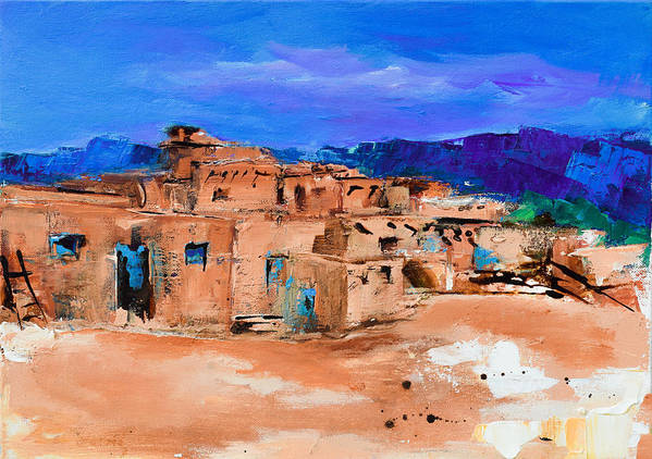 Taos Poster featuring the painting Taos Pueblo Village by Elise Palmigiani