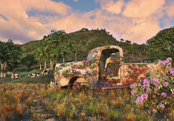 Old Farm Truck Poster featuring the digital art The Old Farm Truck by Mary Almond