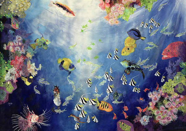 Fish; Water; Sea; Tropical; Exotic; Coral; Swimming; Colorful; Fishes Poster featuring the painting Underwater World II by Odile Kidd