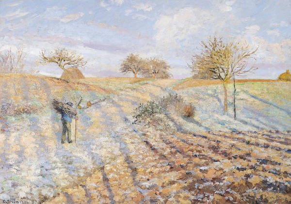 White Poster featuring the painting White Frost by Camille Pissarro