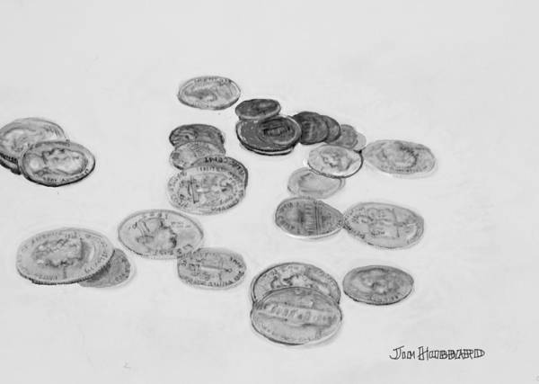 Coins Poster featuring the drawing 2.66 by Jim Hubbard