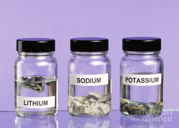 Alkali Metal Poster featuring the photograph Alkali Metals In Jars by Martyn F. Chillmaid