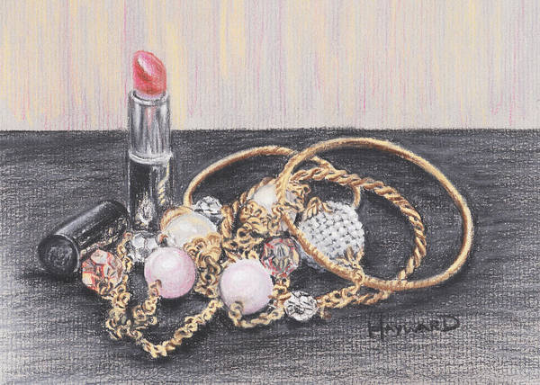 Jewellery Poster featuring the drawing Beads And Bangles by Lucy Hayward