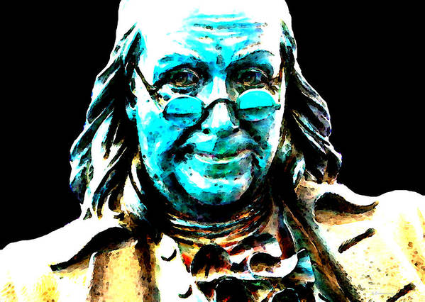 Benjamin Franklin Poster featuring the painting Benjamin Franklin - Historic Figure Pop Art By Sharon Cummings by Sharon Cummings