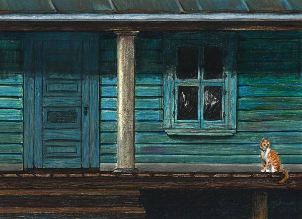 Cat Poster featuring the drawing Cat On The Porch by J Ferwerda