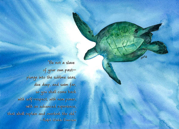 Sea Turtle Poster featuring the painting Dive Deep by Michal Madison