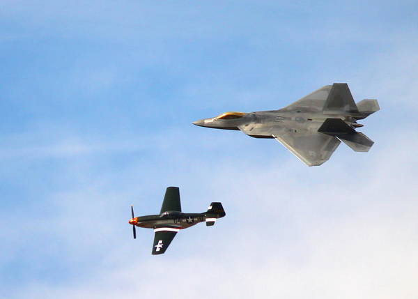 F-22 Poster featuring the photograph F-22 And P-51 Heritage Flight by Saya Studios