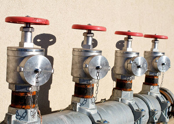 Water Poster featuring the photograph Four Emergency Water Valves by Trever Miller