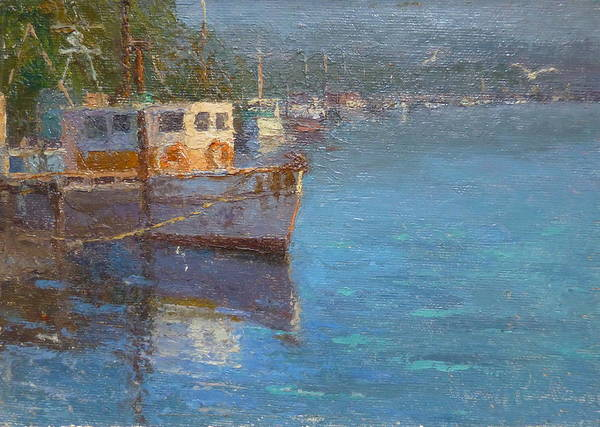 Boats Poster featuring the painting Riverton Morning by Terry Perham