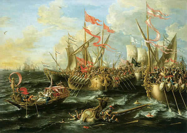 Lorenzo Castro Poster featuring the painting The Battle Of Actium 2 September 31 Bc by Lorenzo Castro