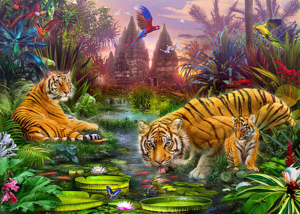 House Artist Poster featuring the photograph Tigers At The Ancient Stream by Jan Patrik Krasny