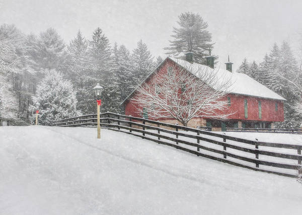 Red Barn Poster featuring the photograph Warmest Holiday Wishes by Lori Deiter