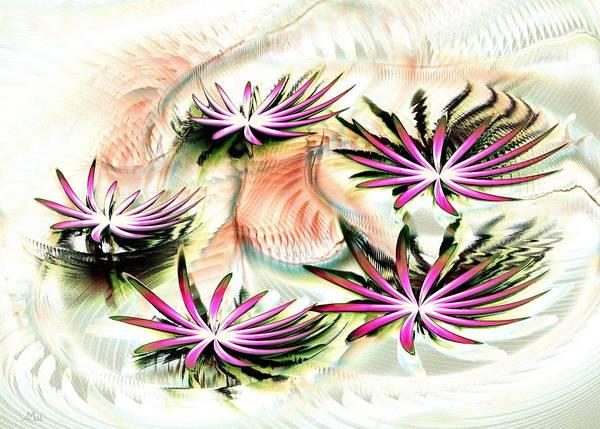 Calm Poster featuring the digital art Water Lilies by Anastasiya Malakhova