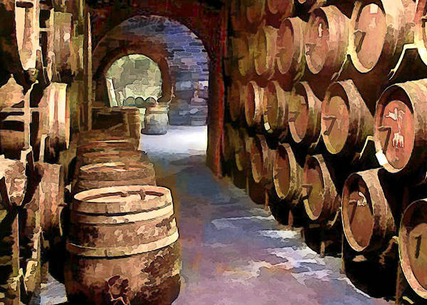 Wine Poster featuring the painting Wine Barrels In The Wine Cellar by Elaine Plesser