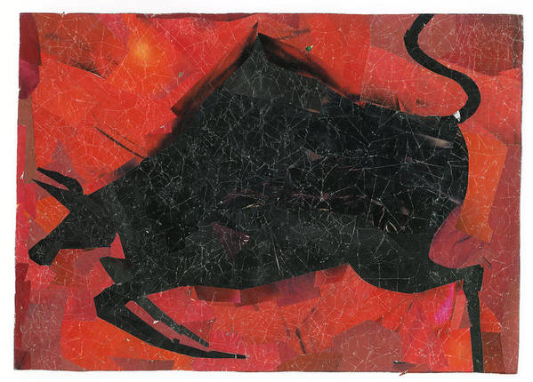 Bull Poster featuring the tapestry - textile Collage by Samruddhi Kadolkar