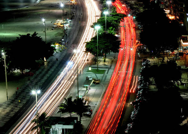 Horizontal Poster featuring the photograph Copacabana At Night by Luiz Felipe Castro