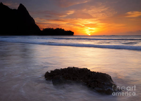 Tunnels Beach Poster featuring the photograph Enveloped By The Tides by Mike Dawson