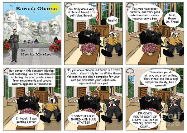 Barack Obama Poster featuring the digital art Freud And His Diagnosis by Kevin Marley