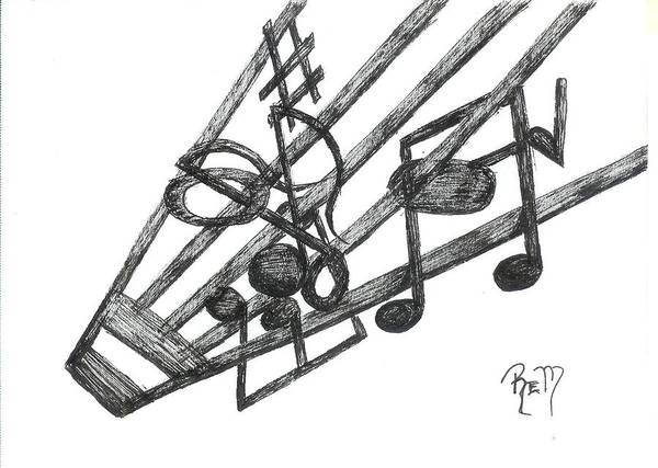 Music Poster featuring the drawing Hiding Among The Notes - Sketch by Robert Meszaros