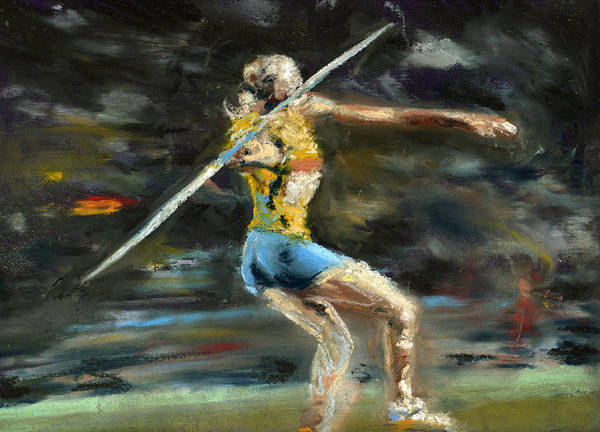 Pastels Poster featuring the pastel Javelin Thrower by Paul Mitchell
