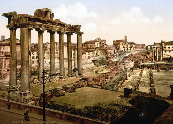 19th Century Poster featuring the photograph Rome, Ruins Of The Temple Of Saturn by Everett