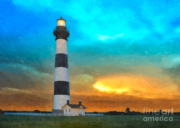 North Carolina Poster featuring the painting Stormy Sunrise Wc by Dan Carmichael