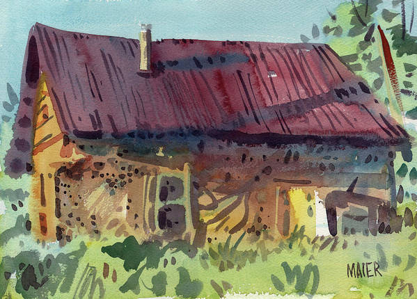Barn Poster featuring the painting Outbuilding by Donald Maier