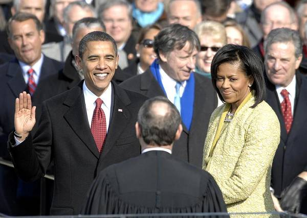 History Poster featuring the photograph Barack Obama Is Sworn In As The 44th by Everett