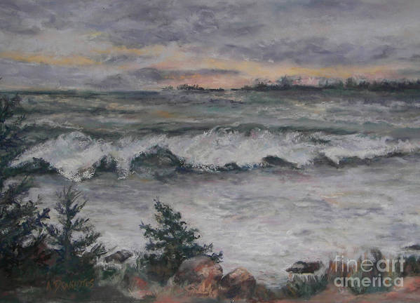 View Overlooking The Town Dock Poster featuring the pastel Chasing The Storm by Alicia Drakiotes