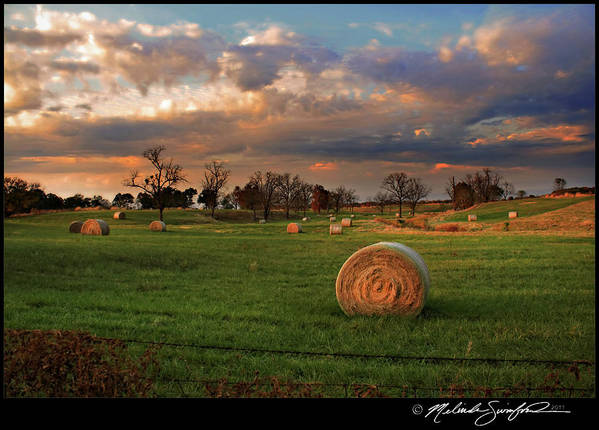 Landscape Poster featuring the photograph Haybales At Dusk by Melinda Swinford
