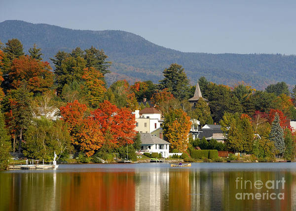 Adirondack Mountains Poster featuring the photograph Mirror Lake by David Lee Thompson