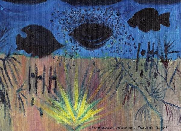 Fish Poster featuring the painting Night Fish In Las Vegas by Suzanne Marie Leclair