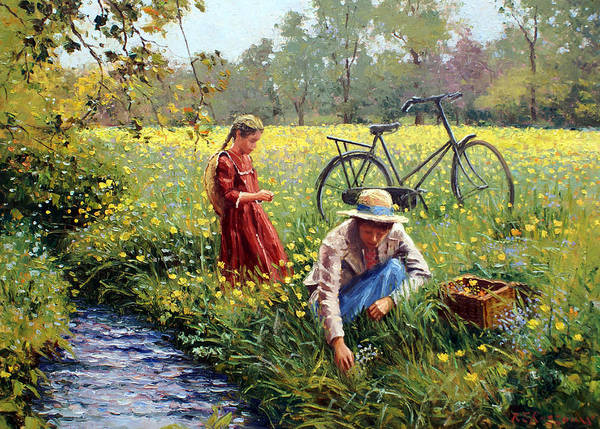 Little Girl Poster featuring the painting Picking Yellow Flowers by Roelof Rossouw